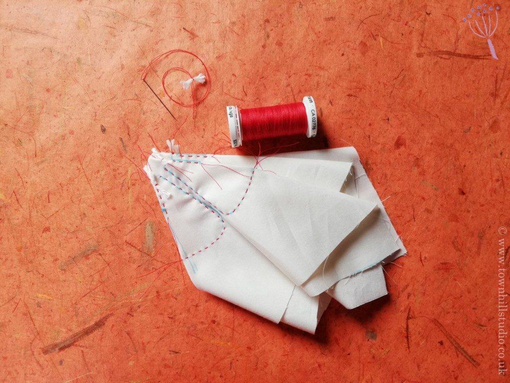 Stitching for shibori flower 1