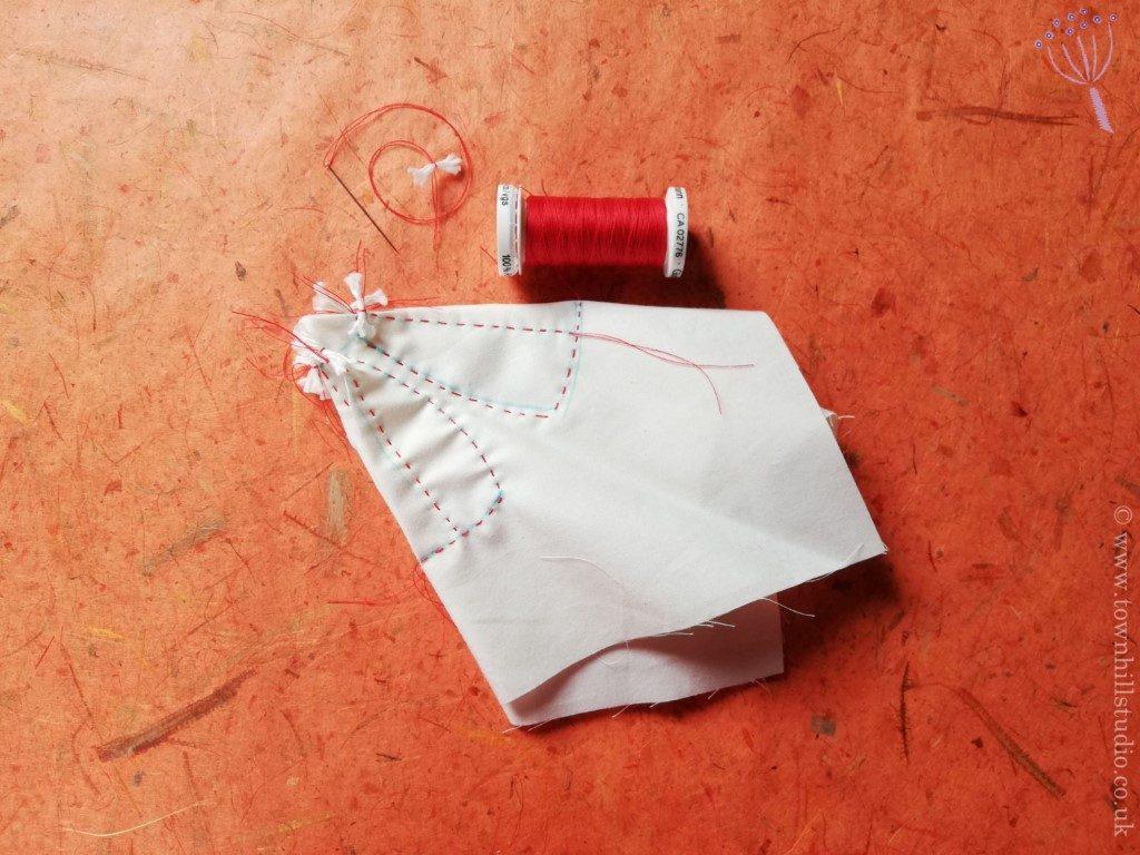 Stitching for shibori flower 2