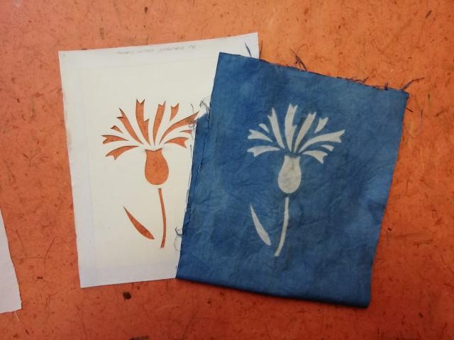 Indigo dyed flower and stencil