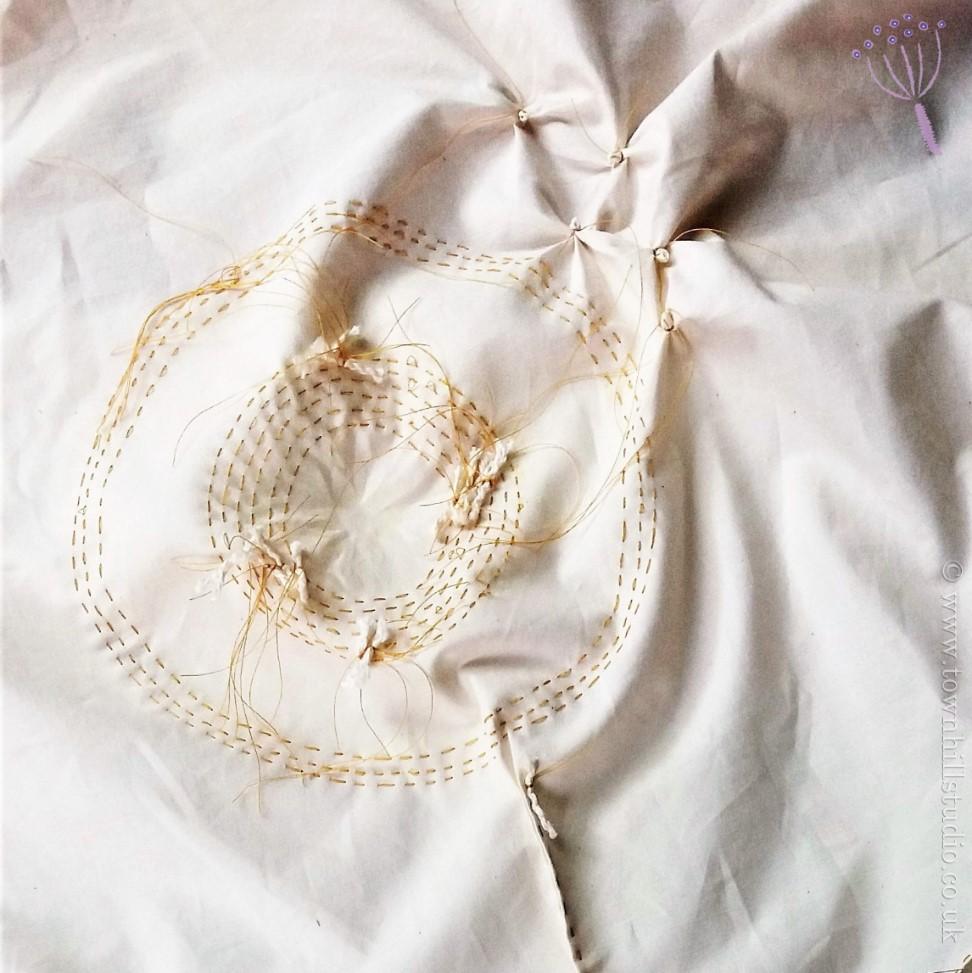 shibori dandelion stitching complete